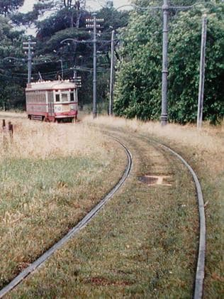 An H type tram speeds through Rymill Park in 1955, near where the O-Bahn tunnel entrance is now. Picture: Keith Kings/Tramway Museum