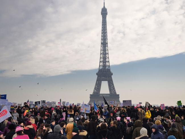 Demonstrators gather for a rally at the Place de Trocadero in Paris. Picture: AFP / Eric Feferberg