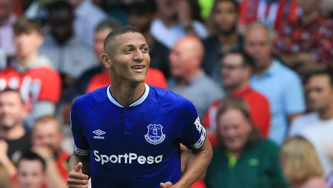 Everton's Brazilian striker Richarlison celebrates scoring their second goal