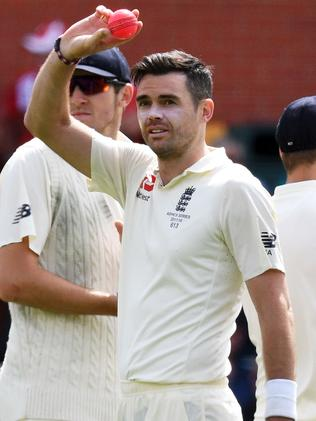 James Anderson celebrates his five-wicket haul.