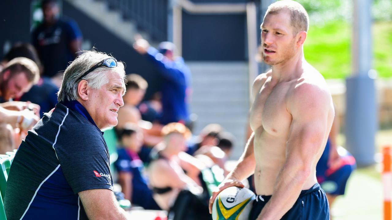 Scott Johnson and David Pocock. Photo: Rugby AU Media/Stuart Walmsley