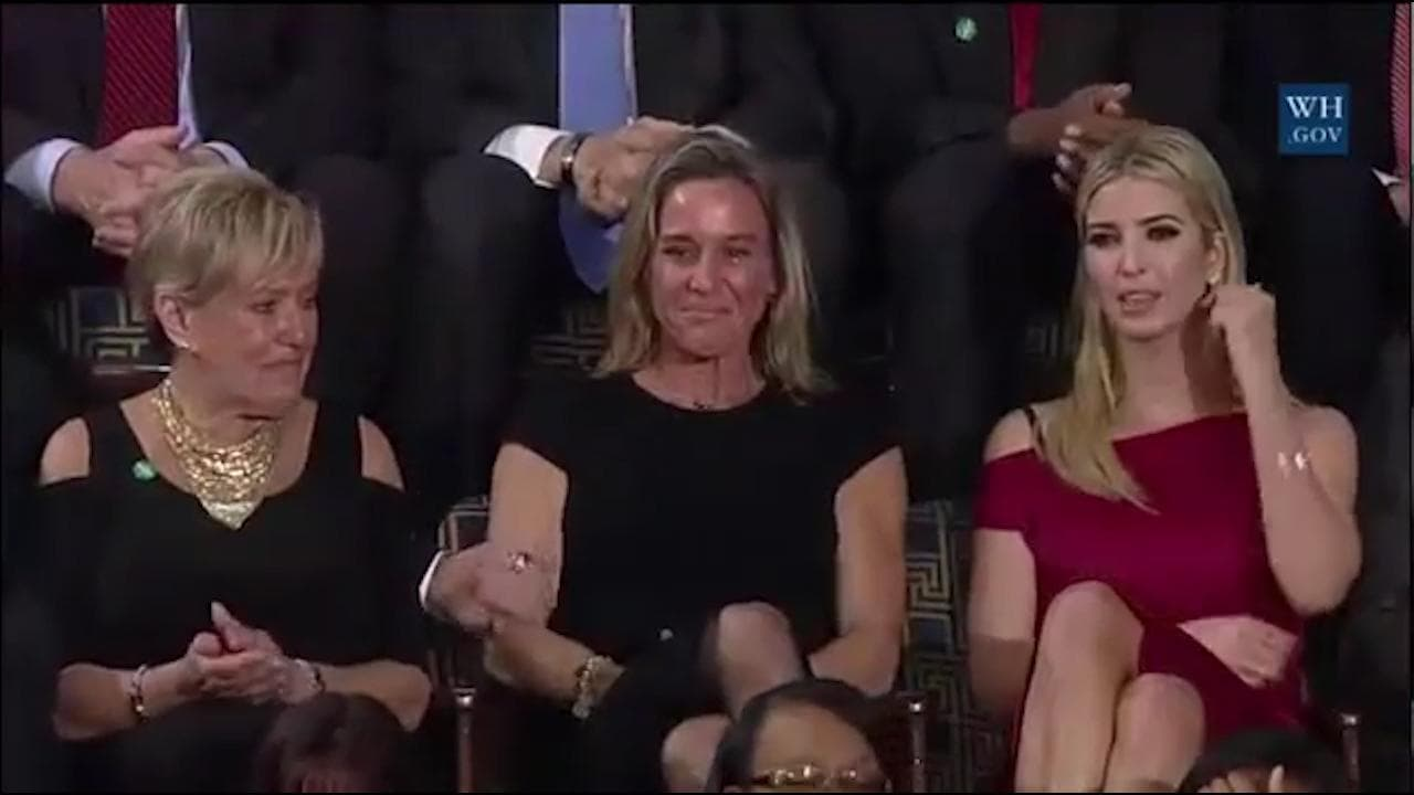 Trump's emotional introduction to Navy SEAL widow