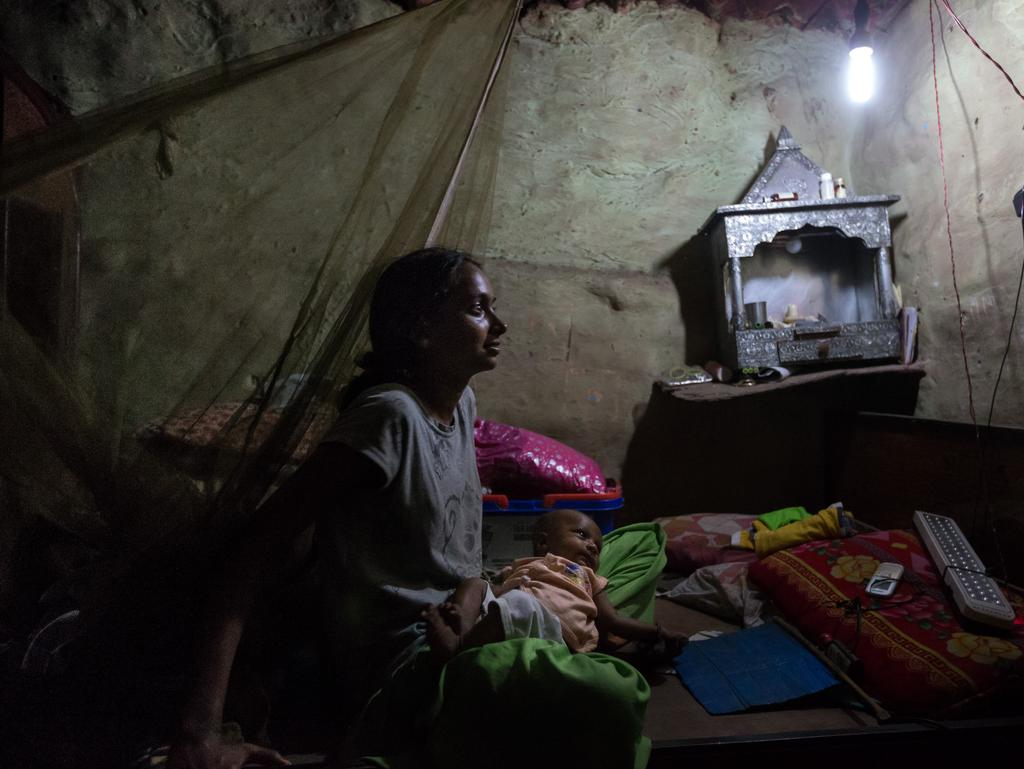 Flickering light in Kirbi Palace slum