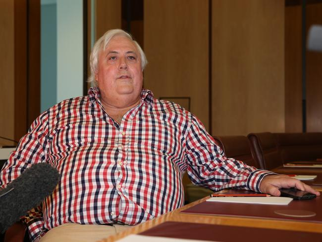 Playing hardball ... Clive Palmer now says his Senators may not vote for the carbon tax repeal today..