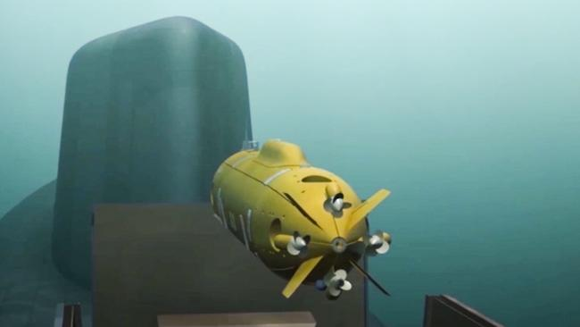 A computer simulation shows a Russian nuclear-powered underwater drone being released by a submarine, which Putin showcased in March. Picture: RU-RTR Russian Television via AP