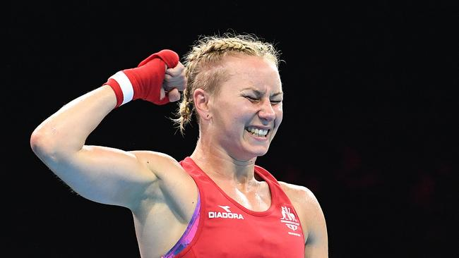 Anja Stridsman reacts after defeating Paige Murney of England in the women's 60kg boxing final. Picture: AAP Image/Dave Hunt