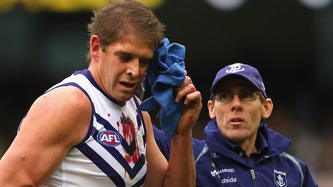Dockers ruckman Aaron Sandilands was hospitalised after copping a knock to the head. Picture: Getty