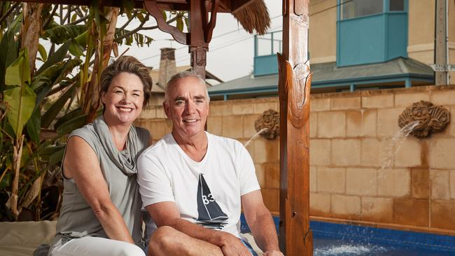 Jody and Mark Bradley at their 58 Marine Pde home in Seacliff – the suburb with the highest growth in value over the last 12 months. Picture: MATT LOXTON