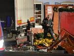A policeman inspects the truck that crashed into a christmas market in Berlin, on December 19, 2016. Picture: AFP
