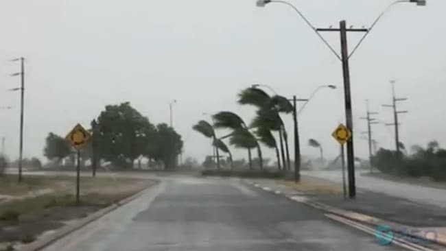 Port Hedland is being battered by high winds as Cyclone Rusty approaches. Picture: AAP