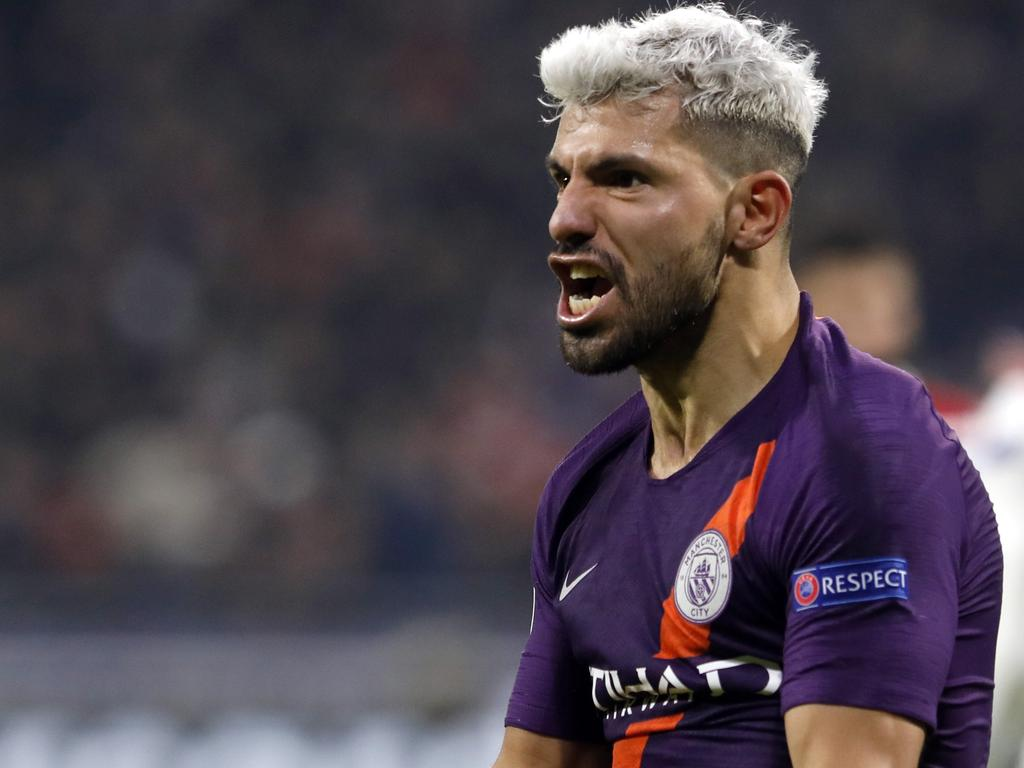 Manchester City forward Sergio Aguero celebrates after scoring his side's 2nd goal during the Champions League Group F second leg soccer match between Lyon and Manchester City in Decines, near Lyon, central France, Tuesday, Nov. 27, 2018. (AP Photo/Laurent Cipriani)