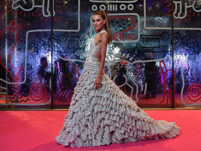 Rebecca Judd looked sensational in a J'Aton Couture custom gown at the 2019 National Gallery Victoria Gala on Saturday night. Picture: Wendell Teodoro/Getty Images for NGV