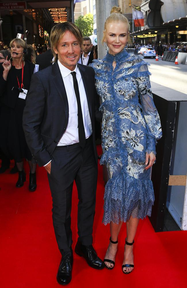 Nicole Kidman and her husband Keith Urban walk the red carpet on in Sydney for her new film Lion. Picture: Dylan Robinson