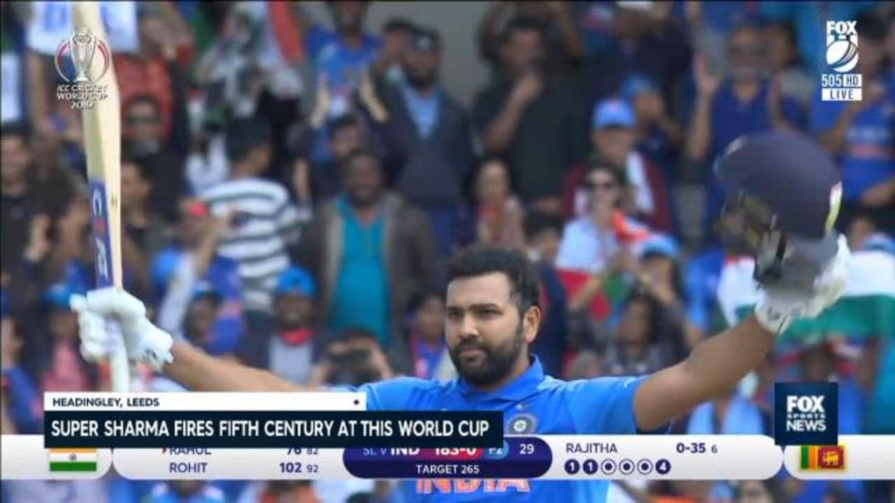 Rohit Sharma first man to score five centuries at single World Cup
