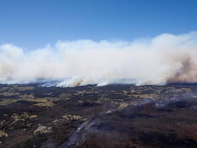 Aerial view of the firefront from Taree to Old Bar. Picture: Lindsay Moller