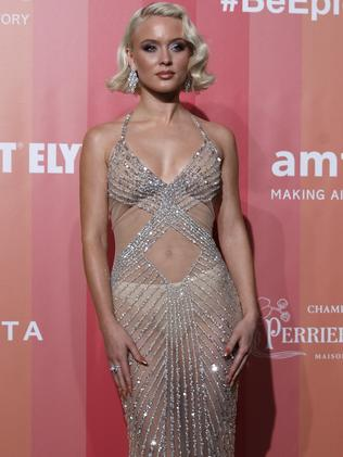 Singer Zara Larsson left little to the imagination in her dress. Picture: AP Photo/Antonio Calanni