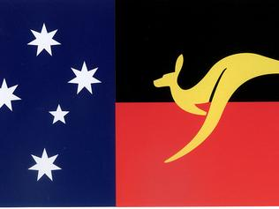 An Australian flag designed by singer John Williamson featuring Southern Cross, kangaroo and black and red Aboriginal colours.