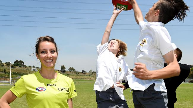 Umpire Eleni Glouftsis at St Bernard's College where she is a teacher. Picture: Nicole Garmston