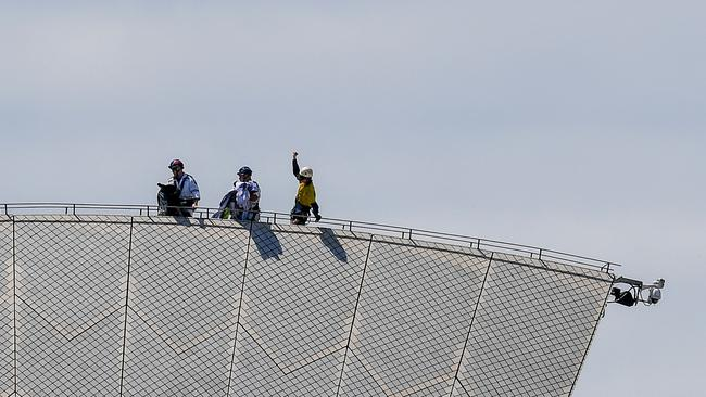 Police arrested five people. Picture: AAP Image/Brendan Esposito.