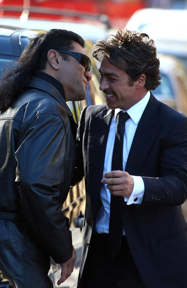 Tongan Sam and John Ibrahim. It's understood Ibrahim was by his loyal bodyguard's side at hospital on Saturday. Picture: News Corp.