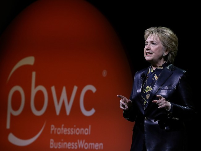 Clinton addresses the crowd in San Francisco. Photo: AFP