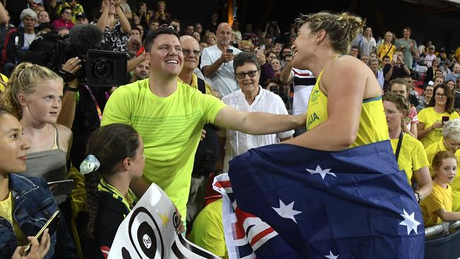 Stevens celebrates with family in the crowd after her win. Picture: AAP Image/Dean Lewins