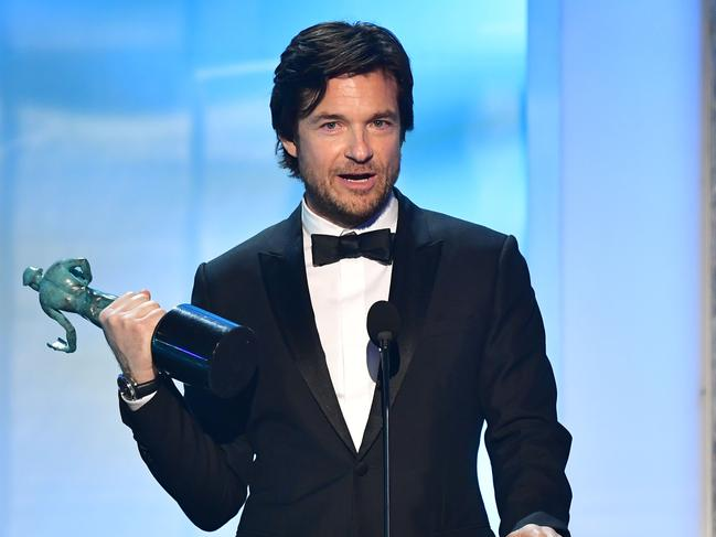 Actor Jason Bateman accepts the award for outstanding Performance by a Male Actor in a Drama Series. Picture: AFP
