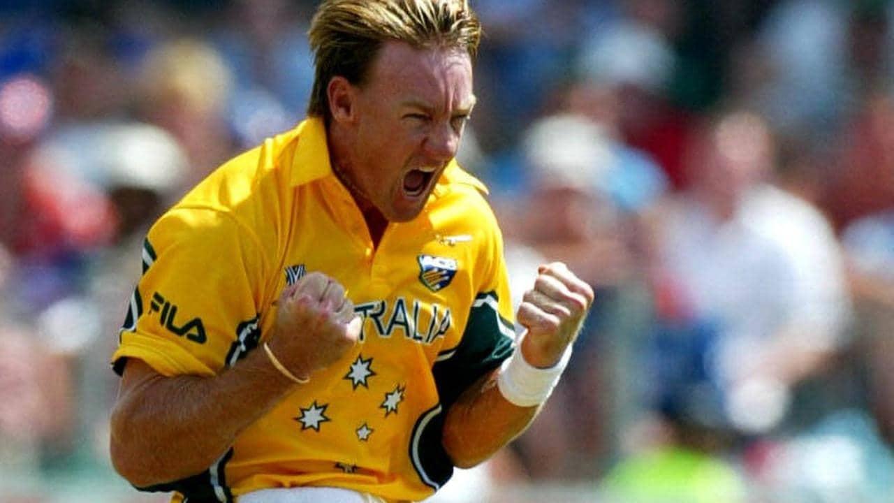 0c1f897c0 2/03/2003: Andy Bichel celebrates bowling Nasser Hussain. Australia v  England