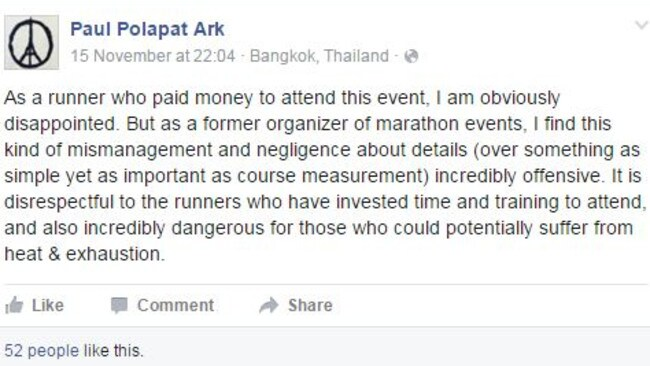"""Former race organiser ... Paul Polapat Ark has blasted the event's """"negligence"""". Picture: Facebook"""