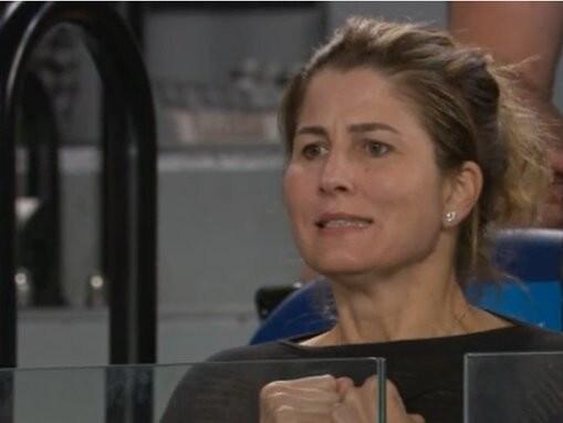 Mirka Federer was as nervous as everyone else inside Rod Laver Arena.