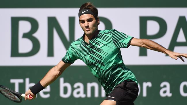 Roger Federer during his Indian Wells final victory over Stan Wawrinka.