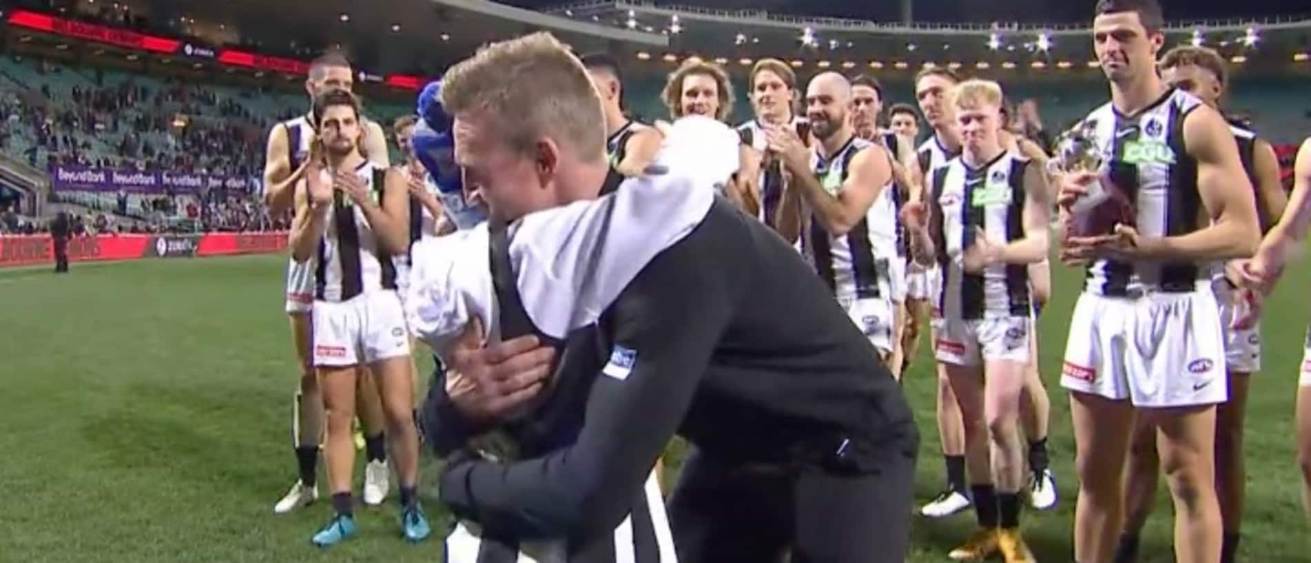 Nathan Buckley got a win in his final game as Collingwood coach.