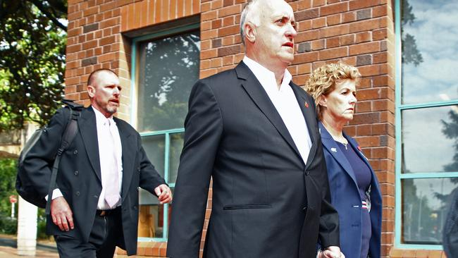 The parents of Grace Millane, David and Gillian, arrive with Detective Inspector Scott Beard (left) at the Auckland High Court earlier this month. Picture: Phil Walter/Getty Images