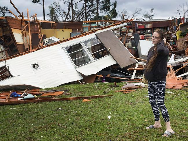 Haley Nelson stands in front of what is left of one of her father's trailer homes. Picture: Joe Raedle/Getty Images/AFP