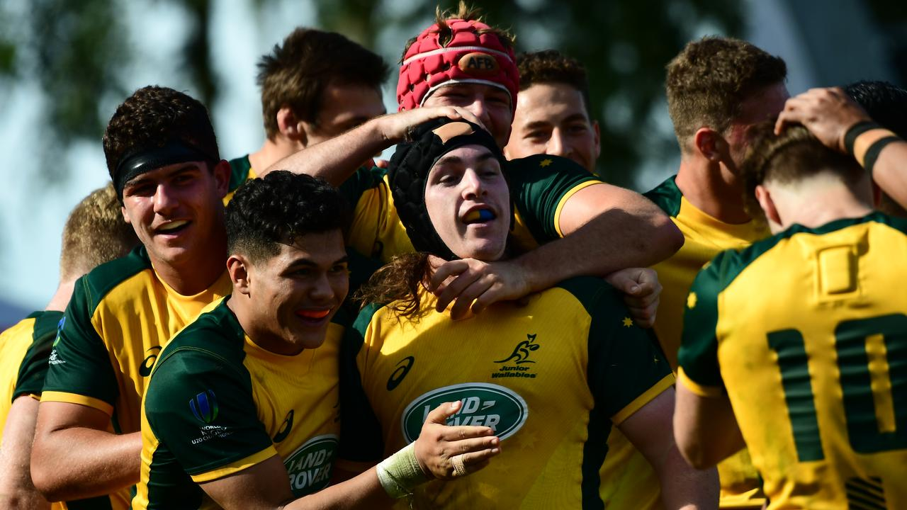 Australia celebrates at the World Rugby U20 Championship in Santa Fe, Argentina.