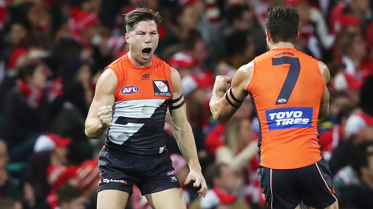 Toby Greene kicked three goals against the Swans. Picture: Phil Hillyard