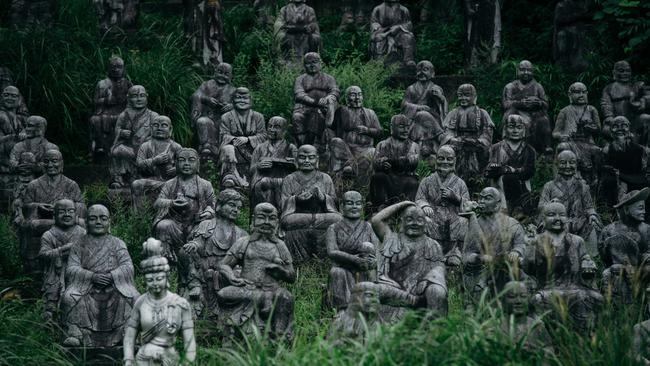 The statues were carved out of stone in the late 1980s. Picture: Ken Okhi.