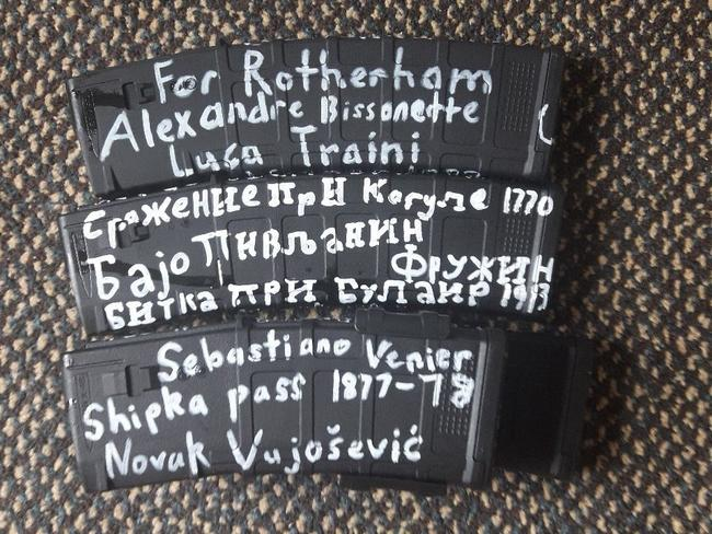 Alleged mosque shooter Brenton Tarrant's ammunition carried various messages. Picture: Twitter