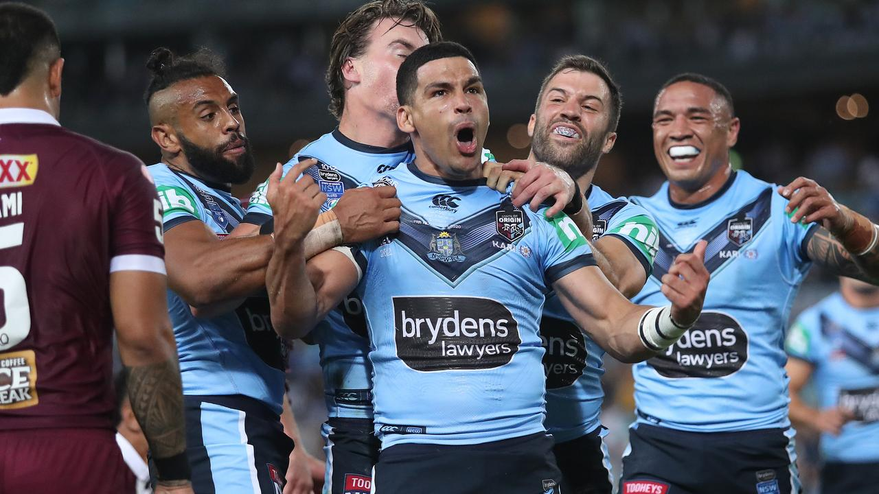 NSW's Cody Walker scores a try during their Origin II win at ANZ Stadium.