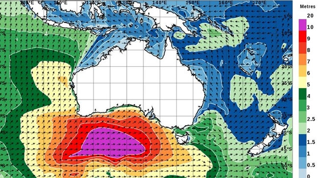 An graphical representation of large wave swells. The purple patch is wave heights in excess of 10 metres — and they're heading towards the eastern states.