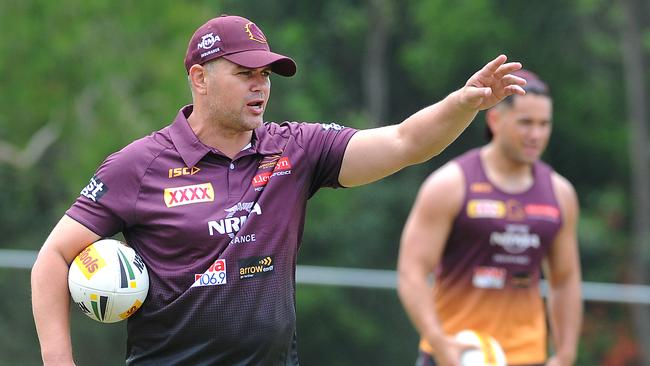 New Brisbane Bronco's coach Anthony Seibold conducts his first training session at Red