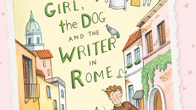 Part of the cover art for The Girl, and the Dog and the Writer in Rome by Katrina Nannestad