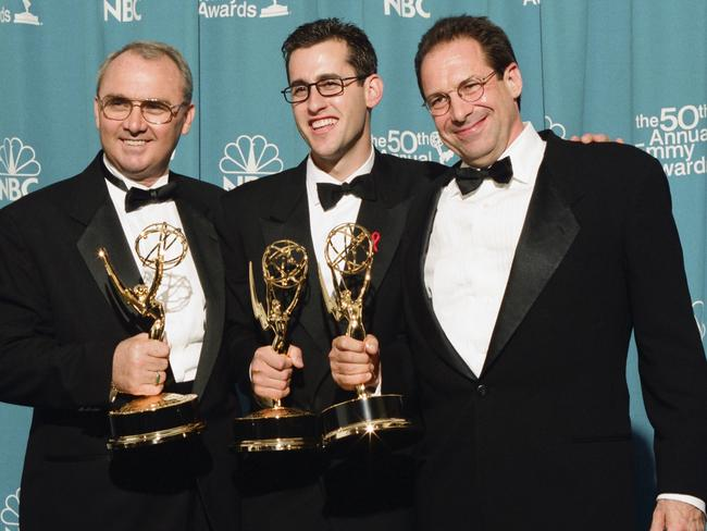 Writers Bill Clark, Ted Mann with David Milch at the 1998 Emmy Awards.