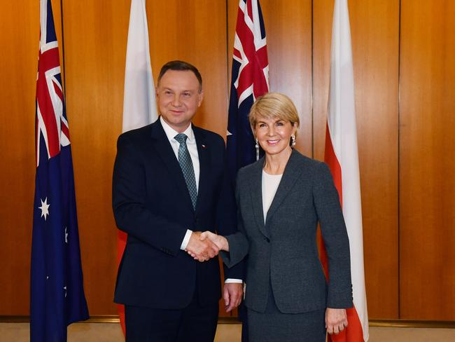 As Foreign Affairs minister Julie Bishop meets Poland's President Andrzej Duda in Canberra, a weeks go. Picture: Mick Tsikas.