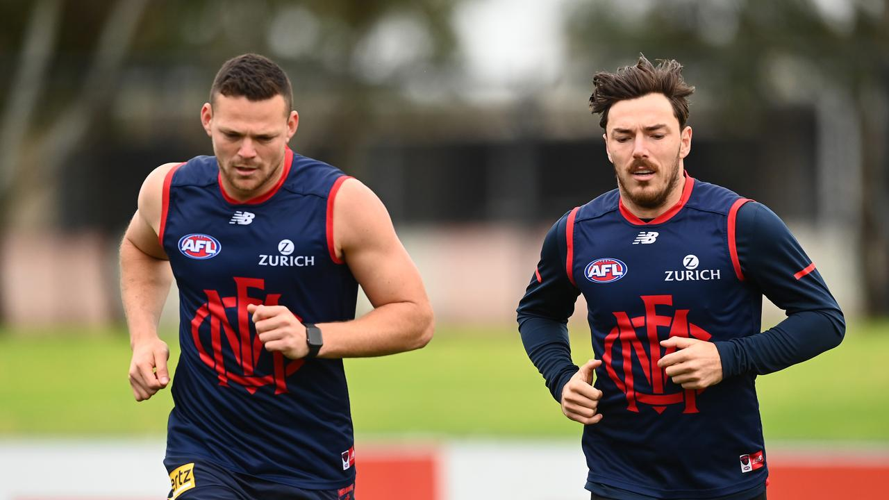 Steven May and Michael Hibberd at Melbourne training. Photo: Quinn Rooney/Getty Images.