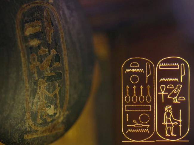 "This furniture handle has Tut's cartouche stamped over the top of the name ""Ankheperure"". Screen capture: King Tut: Forgotten Treasure"