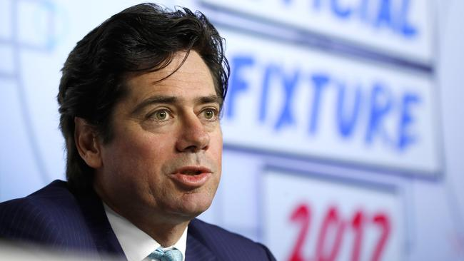 AFL CEO Gillon McLachlan believes the controversy over the Gabba turf will not force a Brisbane Lions home game to be moved from the ground. (Photo by Michael Willson/AFL Media/Getty Images)