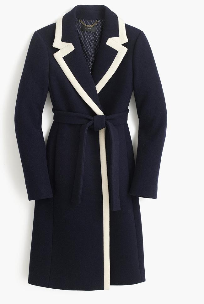 The navy white coat from J. Crew.
