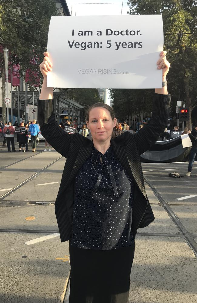 Helen Jeges is part of this morning's vegan protest blocking Melbourne's busiest intersection. Picture: Rohan Smith