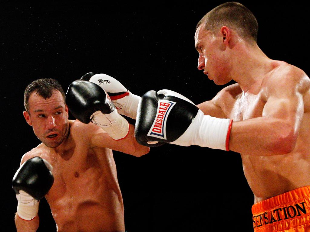SHEFFIELD, UNITED KINGDOM - MAY 12: Sam O'Maison (R) in action with Kristian Laight during their Light Welterweight bout at Hillsborough Leisure Centre on May 12, 2012 in Sheffield, England (Photo by Scott Heavey/Getty Images)